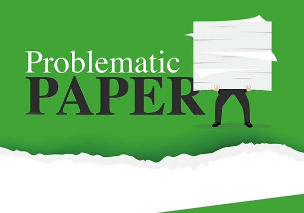 Paper man holding stack 610